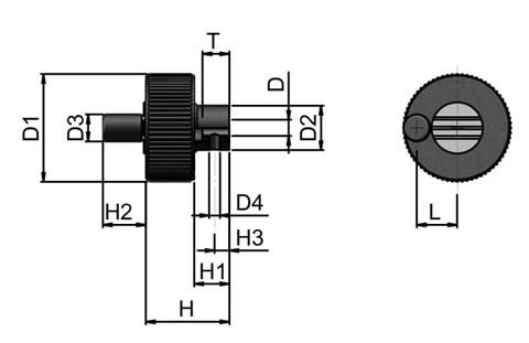 Positioning Wheel with Revolving Grip Tapped Hole - Pale Grey (WDS 8490)