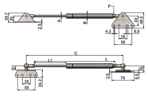 Stainless Steel Gas Struts (Gas Springs) with External & Flat Brackets (WDS 850)
