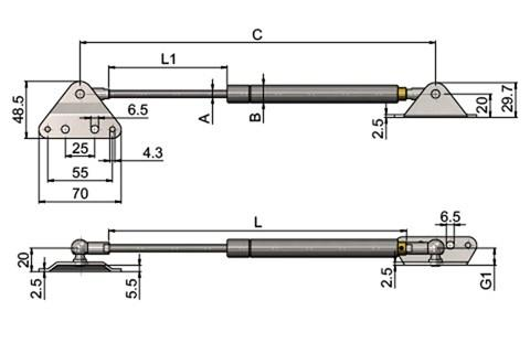 Stainless Steel Gas Struts (Gas Springs) with External & Internal Brackets (WDS 850)