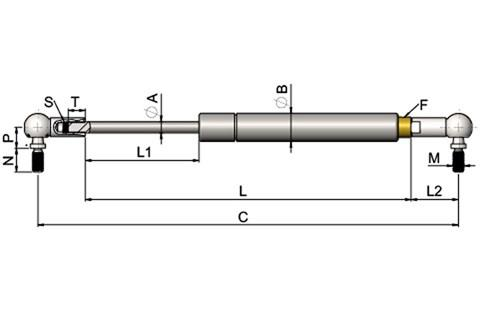 Stainless Steel Gas Springs with Angle Joints (WDS 850)