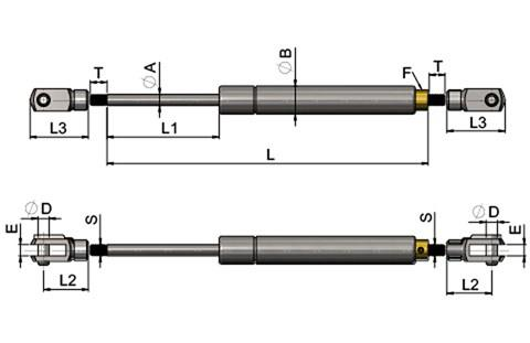 Stainless Steel Gas Struts (Gas Springs) with Clevis Forks & Pins (WDS 850)