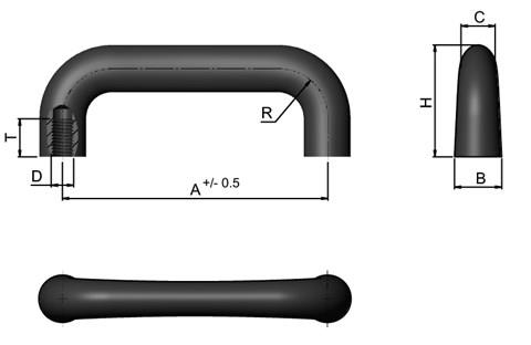 Cast Iron Handle - Black Plastic Coated (WDS 8529)