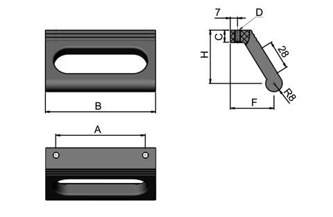 Ledge Handle - Slotted - Black  - Top Mounting (WDS 8540)
