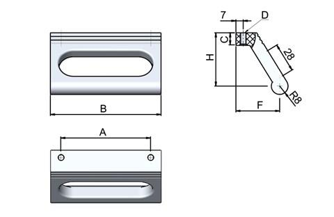 Ledge Handle - Slotted - Silver - Top Mounting (WDS 8540)