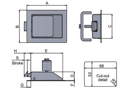 Paddle Latch - Small - Steel (WDS 8550)