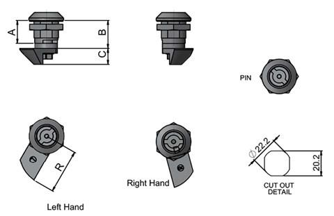 Quarter Turn Slam Latch - Pin Type - Left or Right Hand (WDS 8558)