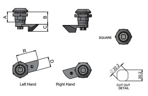 Quarter Turn Slam Latch - Square Type - Left or Right Hand (WDS 8558)