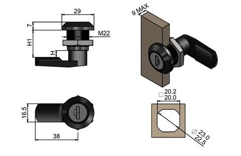 Quarter Turn Latch Kit - Polyamide (Plastic) Cylinder with Cam Key Type (WDS 8559)