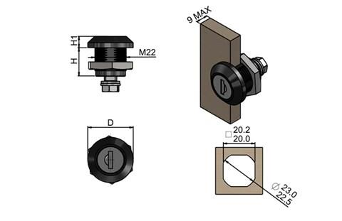 Quarter Turn - Polyamide Cylinder with Key (WDS 8559)