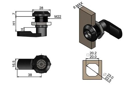 Quarter Turn Latch Kit - Polyamide (Plastic) Cylinder with Cam Pin Type (WDS 8562)