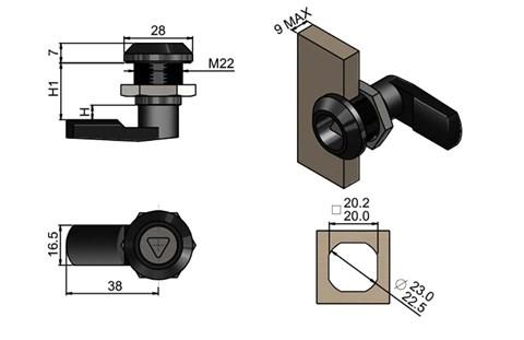 Quarter Turn Latch Kit - Polyamide (Plastic) Cylinder with Cam Tri Type (WDS 8562)