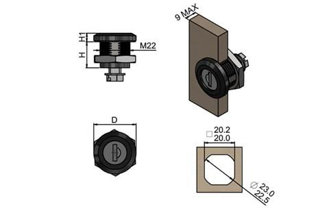Quarter Turn - Black Finish Cylinder with Key (WDS 8564)