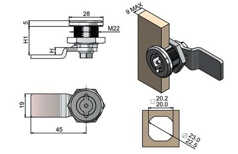 Quarter Turn Latch Kit - 304 Stainless Steel Cylinder and CAM Pin Type (WDS 8567)
