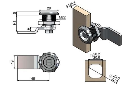 Quarter Turn Latch Kit - 304 Stainless Steel Cylinder and CAM Square Type (WDS 8567)