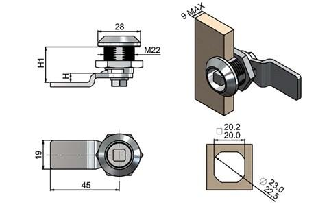 Quarter Turn Latch Kit - Chrome Finish Square Type with Cam (WDS 8567)