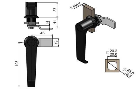 Quarter Turn Latch Non Keyed L Handle - Black Finish with Cam (WDS 8568)