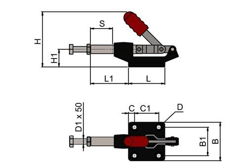 Push Pull Toggle Clamp with Black Cast Base (WDS 862)