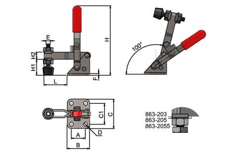 Vertical Toggle Clamp with Adjustable Spindle (100 degree) (WDS 863)