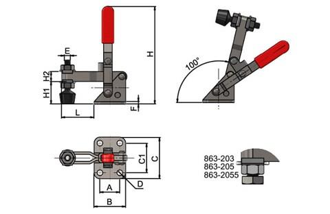 Toggle Clamps - Vertical Toggle Clamp Adjustable Spindle (WDS 863)