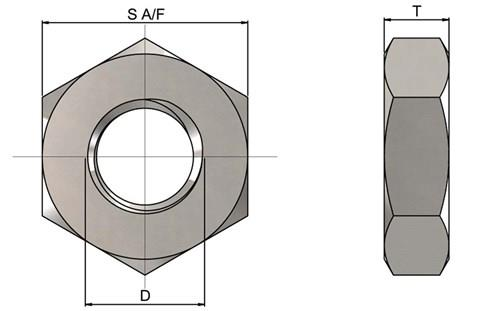 303 Stainless Steel (A2) Metric Half Nuts - DIN 439 (WDS 875)