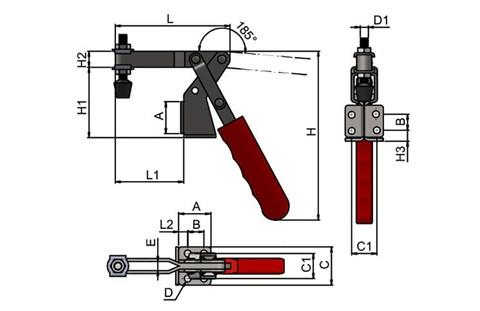 Reverse Handle Vertical Toggle Clamp with Adjustable Spindle (WDS 884)