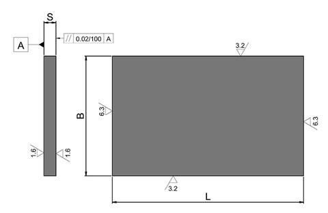 Rectangular Plate - Cast Iron - Thickness from 12mm-25mm (WDS 920)