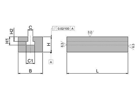 Tee Slot Section - Cast Iron (WDS 933)