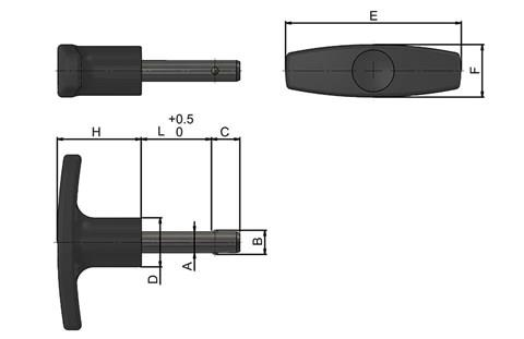 Detent Pin with Black Plastic T-Handle (WDS 960)