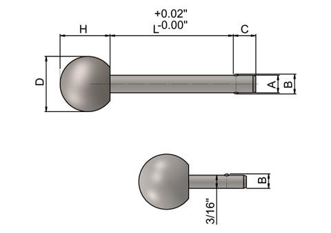 Detent Pin with Ball Knob in inch sizes - Matt 316 Stainless Steel (WDS 962)