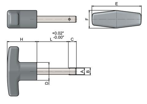 Detent Pin in inch sizes with Stainless Steel T Handle (WDS 962)