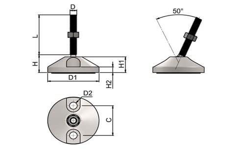 Levelling Feet (Inch) - Mild Steel Nickel Plated Double Bolt Down 60mm Base (WDS 977)