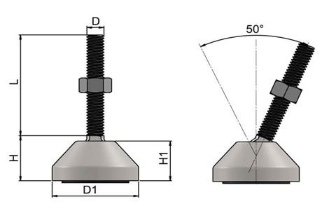 Levelling Feet (Inch) - 304 Stainless Steel (A2) with 40mm Base (WDS 977)