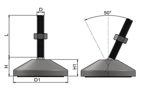 Levelling Feet (Inch) - 304 Stainless Steel (A2) with 60mm Base (WDS 977)