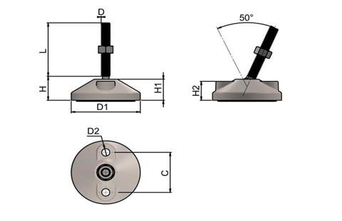 Levelling Feet (Inch) - 304 Stainless Steel (A2) with Bolt Down 60mm Base (WDS 977)