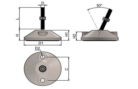 Levelling Feet (Inch) - 304 Stainless Steel (A2) with Bolt Down 80mm Base (WDS 977)