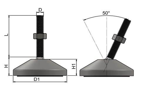 Levelling Feet (Inch) - 316 Stainless Steel (A4) with 60mm Base (WDS 977)