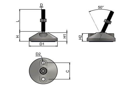 Levelling Feet (Inch) - 316 Stainless Steel (A4) with Bolt Down 60mm Base (WDS 977)