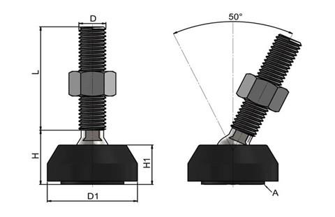 Levelling Feet (Inch) - Steel Nickel Plated with Plastic 40mm Black Base (WDS 978)