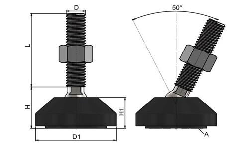 Levelling Feet (Inch) - Steel Nickel Plated with Plastic 50mm Black Base (WDS 978)