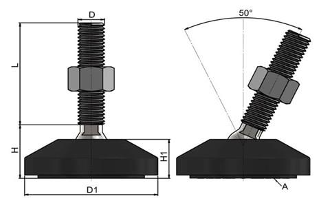 Levelling Feet (Inch) - Steel Nickel Plated with 60mm Black Plastic Base (WDS 978)