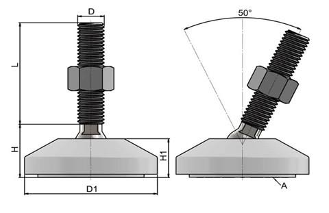 Levelling Feet (Inch) - Steel Nickel Plated with 60mm White Plastic Base (WDS 978)