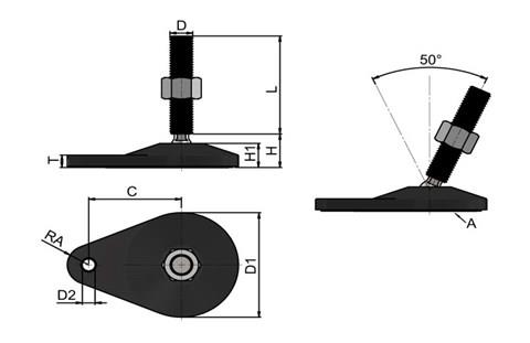 Levelling Feet (Inch) - Black Extended Bolt Down Base - Steel Nickel Plated (WDS 978)