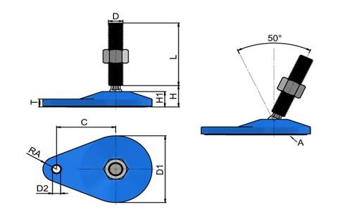 Levelling Feet (Inch) - Blue Extended Bolt Down Base - Steel Nickel Plated (WDS 978)