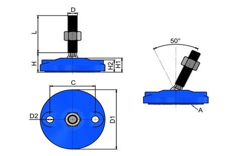 Levelling Feet (Inch) - Blue Double Bolt Down Base - Steel Nickel Plated (WDS 978)