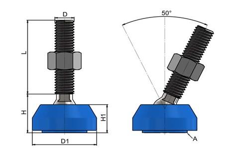 Levelling Feet (Inch) - 316 Stainless Steel (A4) with Blue Plastic 40mm Base (WDS 978)