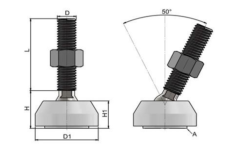 Levelling Feet (Inch) - 316 Stainless Steel (A4) with White Plastic 40mm Base (WDS 978)