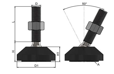 Levelling Feet (Inch) - 316 Stainless Steel (A4) 50mm Black Plastic Base (WDS 978)