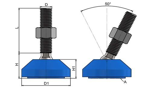Levelling Feet (Inch) - 316 Stainless Steel (A4) 50mm Blue Plastic Base (WDS 978)