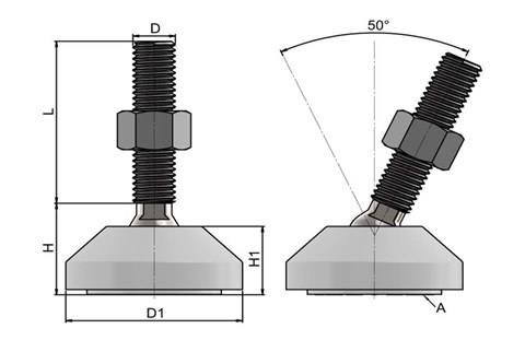 Levelling Feet (Inch) - 316 Stainless Steel (A4) 50mm White Plastic Base (WDS 978)