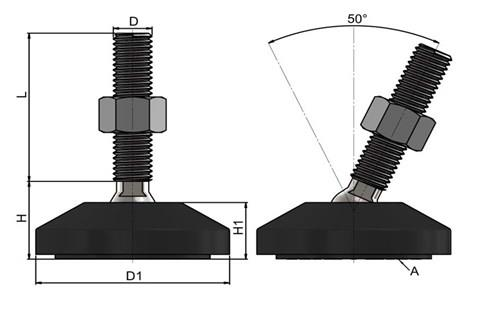 Levelling Feet (Inch) - 316 Stainless Steel (A4) 60mm Black Plastic Base (WDS 978)